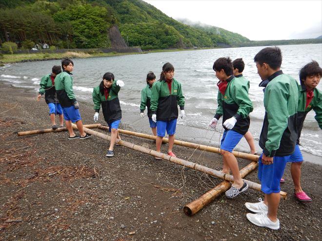 静岡教育旅行 いかだ作り体験